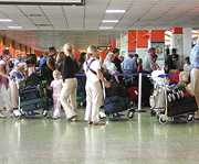Airport schedules arrivals and departures